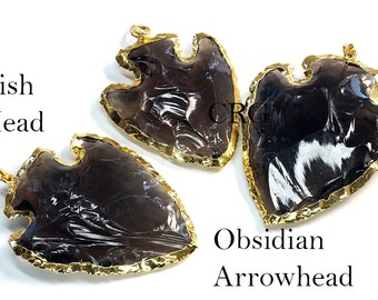 "Gold Plated Obsidian Fish Arrowhead Pendant 2"" (FA11DG)"