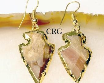 Gold Plated Fancy Jasper Arrowhead Earrings (AE7DG) - 1 Pair