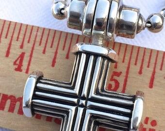 "Joseph Esposito Cross Ribbed Sterling Silver Snap On Pendant on Espo 20"" Smart Snap Bead Ball Chain"
