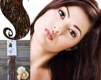Brown  Hair Tinsel,  Brown Hair Bling, Hair Tinsel Brown, Glitter Extensions, Long Hair Tinsel