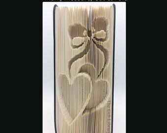 Book Folding PATTERN~Cut & Fold ~  2 Hearts Bow