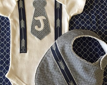 Monogramed Tie & Suspenders appliqué onesie for baby boy and bib