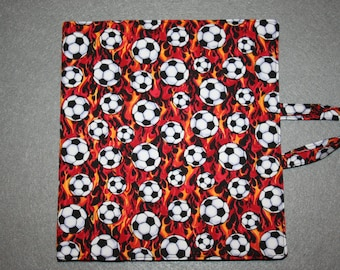 Art and activity bag, travel tote, pencil case with zip, drawing and note pad holders, A5. Football fabric.