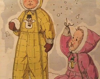 Beautiful Snowsuit Pattern---Kwik Sew 860---Sized for Ages 1-3 With Transfers for Appliques Included