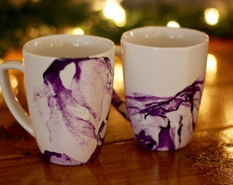 Set of Four Purple Marbled Mugs