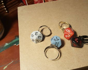 d10 Dice Rings. Creative Gift for Role-playing Tabletop Gamers. Unique Jewelry for Men & Women