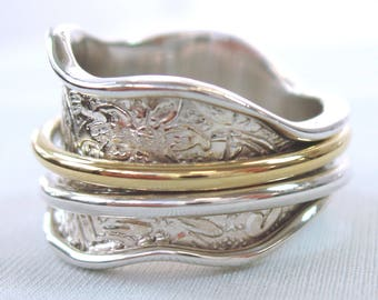 """Sterling Silver """"REGAL"""" Meditation Spinning Ring with Silver and Brass Spinners on Floral & Leaf Pattern by Energy Stone (Style# US33)"""