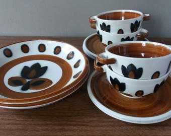 Boch Kimono, Kimono soup bowl, Boch Boch Kimono deep plate, Boch Belgium, Mid century crockery, Boch la louviere, Boch kimono soup plate, 1960