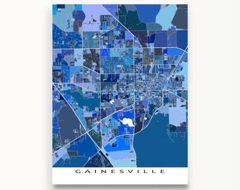 Gainesville Map Print, Gainesville FL, University of Florida