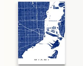 Miami Map Print, Miami Florida, City Art Maps, USA
