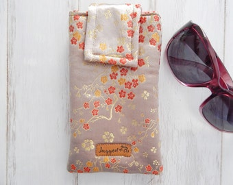 Luxury soft glasses case - handmade glasses case - handmade sunglasses case - Chinese brocade glasses case - Mother's Day gift