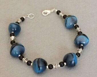 Blue Bead Bracelet Blue Black Bracelet Large Bead Glass Bead Bracelet Contemporary Statement Bracelet Womens Gift Chunky Bracelet For Her