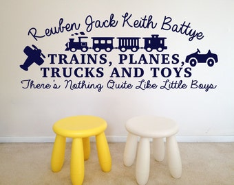 Boys, Bedroom, Playroom, Trains, Planes, Trucks And Toys, Personalised Wall Part 79