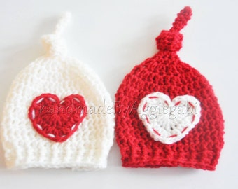 Twins valentine beanie hats pixie hats twins hats newborn photo props