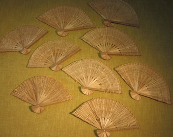 """9 mini oriental woven bamboo fans, 4""""x7"""", fixed in place, do not open and close, for crafts or decorating"""