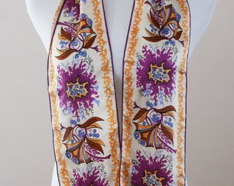 Laura Biagiotti Vintage Silk Scarf Abstract Peacock Pattern Purple Orange Brown NWT Deadstock M-879