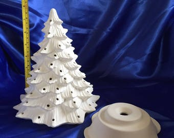 """Ceramic unpainted 10"""" 'paint your own' Christmas Tree - Bisque"""