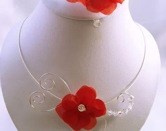Hydrangea silk flower wedding Bracelet and necklace set