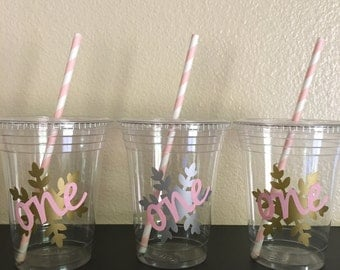 Winter onederland party cups