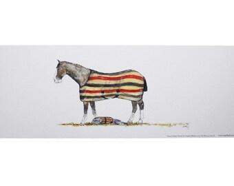 Horse & Dog Print 'Snug In Rugs' ~ Print In A Pot