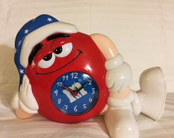 M&M Alarm Clock, Childrens Room, Red Collectible, Home and Living