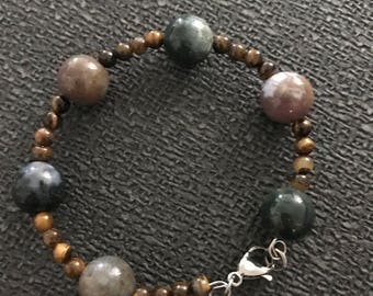 Jasper Stone and Tiger eyes Bracelet