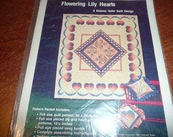Flowering Lily Hearts Quilt Pattern