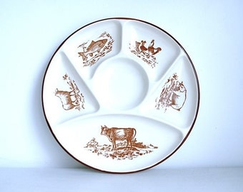 Plates (set of 6) fondue or raclette in faience of GIEN in perfect condition with illustrations of different animals from the farm.