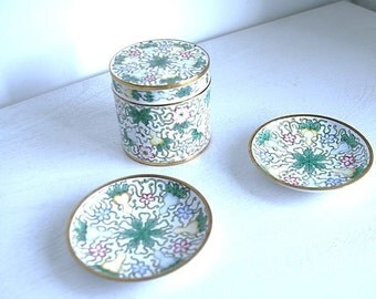 Set in box with two plates tidy brass coated with Bohemian style hand painted illustration. From the 60s.