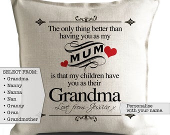 Personalised Mothers Day Cushion Pillow Cover - Mum and Grandma Nanny Nan Nanna Grandmother Quote - 40cm 16 inch - Heavy Linen
