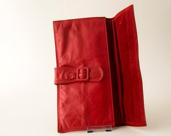 Pillar box red leather envelope clutch bag  from the 80s