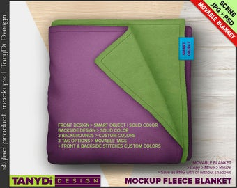 Fleece Blanket PSD Styled Mockup | Top View Folded Blanket on Wood Table B2 | Custom colored stitches | Blanket tags
