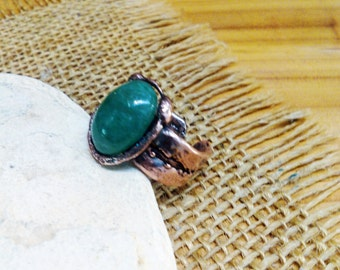 Green Jade Copper Cuff Ring.  12mm X 16mm Cabochon Stone.