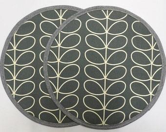 Set of 2 Aga lid covers, mats. Orla Kiely  Linear Stem in grey. Hanging loop.