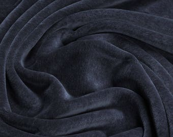 Fabric pure cotton nicky velour graphite grey kbA GOTS soft C. PAULI india ink