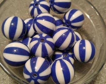 10 Round 20MM Blue stripe Pearl Acrylic Beads | Gumball Beads | Bubblegum Beads | Chunky Beads |  Acrylic |