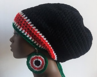 Kenyan Flag Crochet Large Rasta Tam and Earrings Set - Red, Black, Green, and White, Dreadlock Tam, Hat, Cap and Earrings, Colors of Kenya