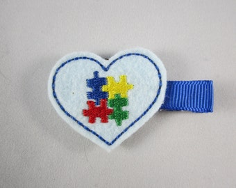 NEW Autism Awareness puzzle piece handmade felt embroidered hair clip