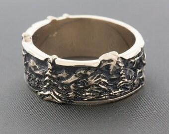 Mountain Ring Band, Gold Ring, Wedding Rings, Wedding Bands, Commitment Bands, Commitment Rings, Men's Ring, Women's Ring, Mountain Band