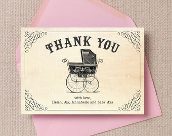 Personalised Vintage Pram Baby Shower Thank You Note Cards