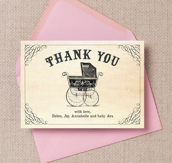 Vintage Baby Shower Thank You Cards: Personalised Vintage Pram Baby Shower Thank You Note Cards