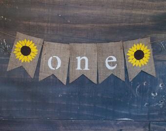 Sunflower Banner, First Birthday Banner, 1st Birthday Decor, Sunflower Theme Birthday, Sunflower Burlap Banner, 1st Birthday Sunflower, B398