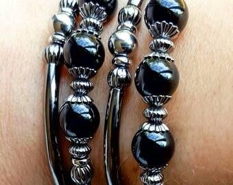 Black Onyx Memory Wire Gemstone Bracelet