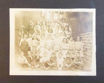 Antique cabinet card photo of school children