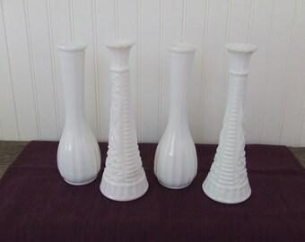 White Milk Glass Vases,  White Vases, Set of 4, Vintage