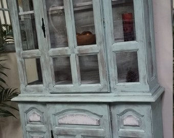 SOLD Cottage Chic Display Cabinet Hutch