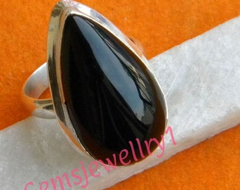 Black stone ring, 925 sterling silver,Black Ring, Bohemian Ring, Black Stone Ring Size 5 6 7 8 9 10 11 12 13 14, -0115100204
