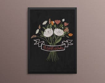 Chalk Wall, Bouquet, Wild Flowers, Chalk Florals, Chalk Illustration, Home Art, Floral Bouquet, Chalk Art, Espanol, Amor, Dulce, Love Art