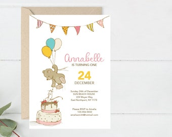 Birthday Invite Printable, Cute animals party Invitation, Baby Party Invite, First Bday Invite, Animals Party Invite (B10.Bday)