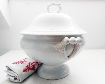 Large Antique French Ironstone Soup Tureen with Original Lid Cream White